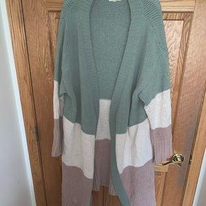 Color block long cardigan